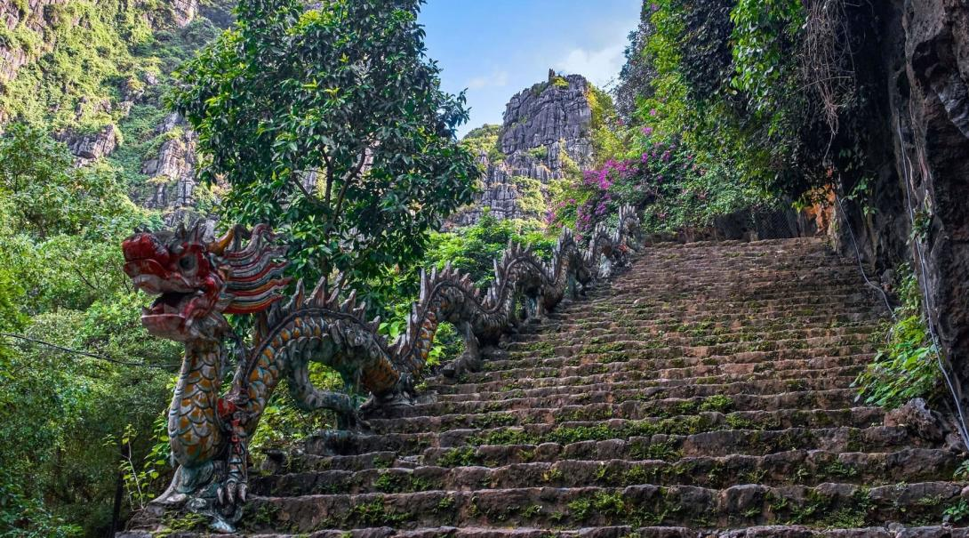 Travellers can explore the many caves and temples found in Vietnam.